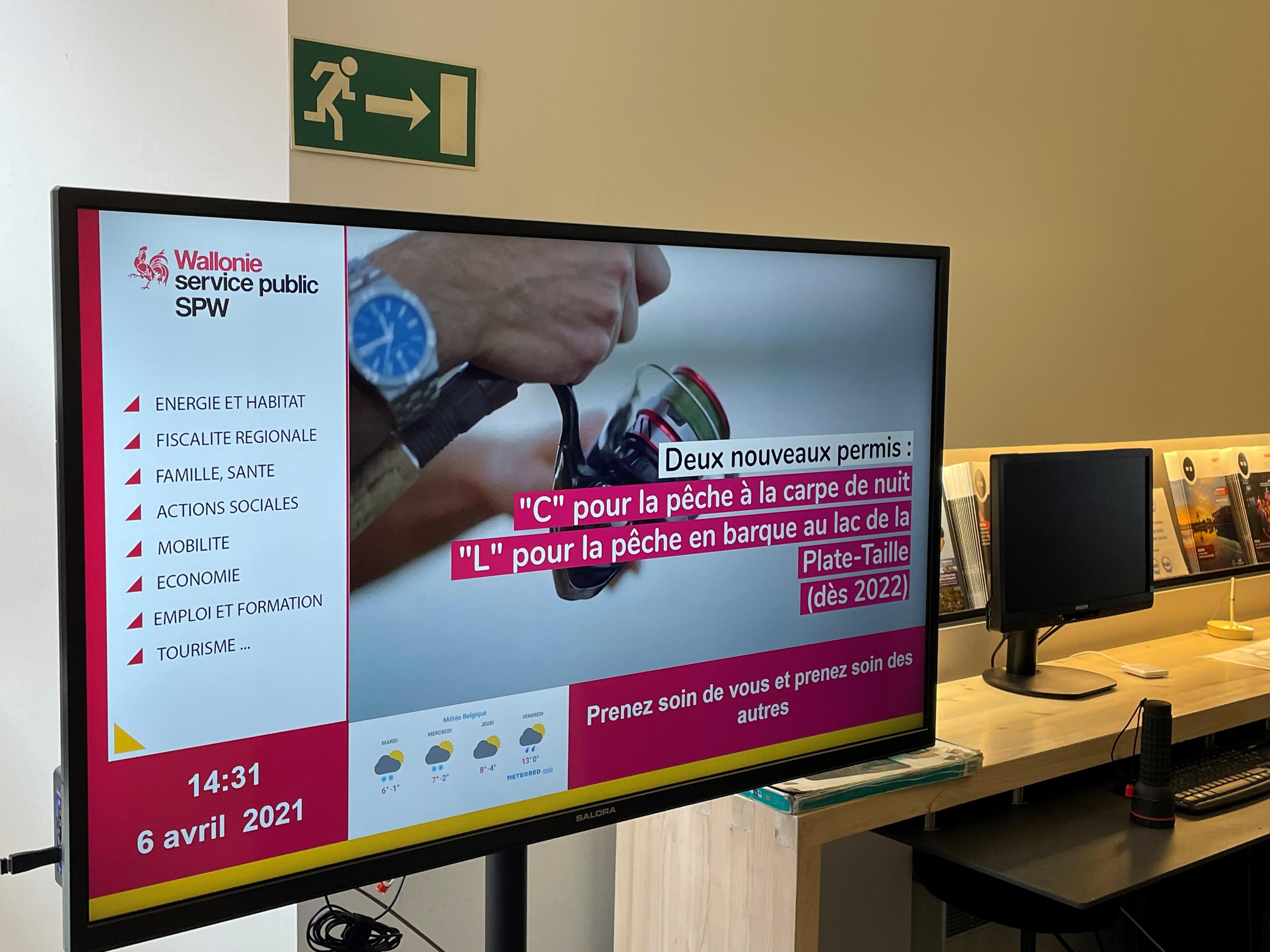 Ecrans affichage dynamique pour l'Espace Wallonie du Service Public Wallon