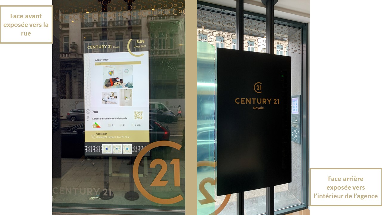 Ecran vitrine Agence Century 21 Royale Bruxelles