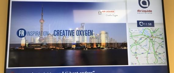 Ecran de communication interne chez Air Liquide à Anvers (Schelle)