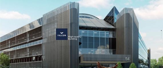 Ecran d'accueil au sein du Falcon Building à Grand-Bigard