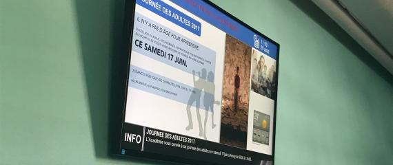 Pour la rentrée, l'Académie de musique  d'Amay s'est équipée d'un écran d'affichage dynamique