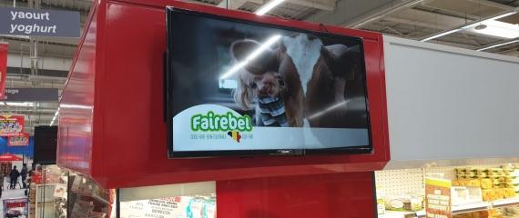 Ecrans d'affichage dynamique au Cora d'Anderlecht pour Faircoop