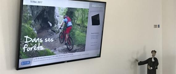 Ecran d'affichage avec contenu juridique dans les salles d'attente d'avocats