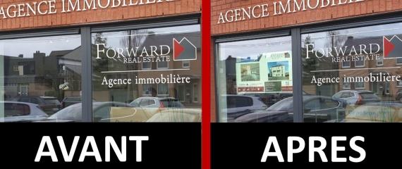 Vitrine agence immobilière AVANT et APRES notre installation
