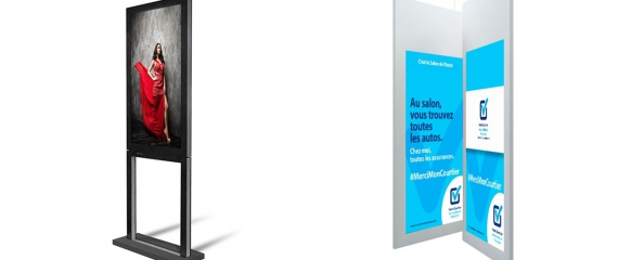 Découvrez nos modèles d'écrans vitrine double faces