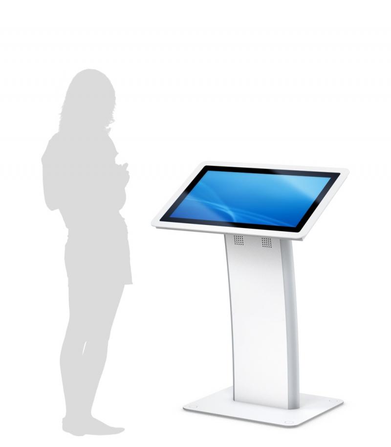 Pupitre (borne / table inclinée) tactile 32'' portrait en blanc ou argenté - Expansion TV  - Affichage dynamique